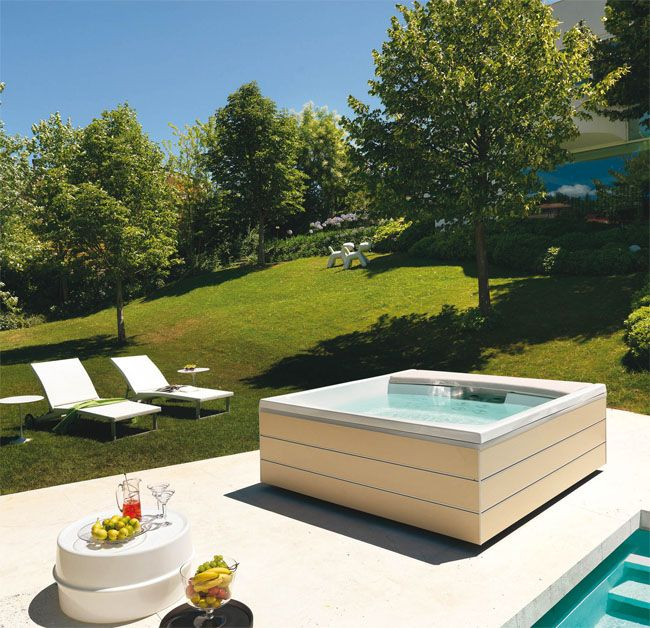 In a sunny place, enjoy and relax with a square #minipool. The water is always warm and ready for you #Teuco #outdoor