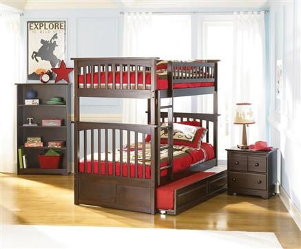 Columbia Antique Walnut Twin/Twin Bunk Bed w/Raised Panel Trundle