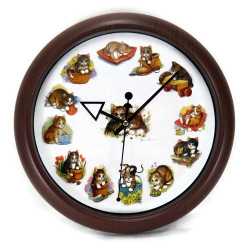 playful cats kittens round wall clock kitty sounds at hour http - Feldstein Kaminsimse