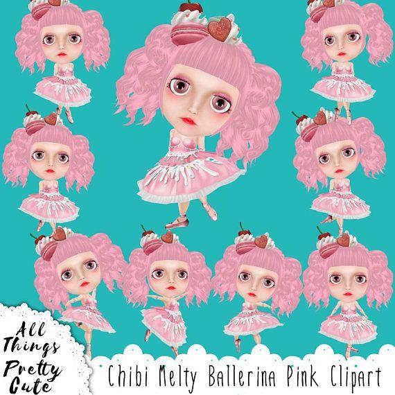 Chibi Girls Melty Ballerina Pink Clipart, commercial use clipart, chibi girls, chibi dolls, chibi stickers, cute chibi, chibi girl stickers