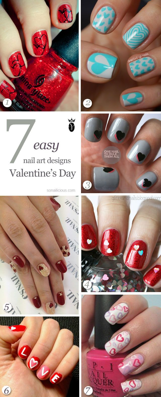 Valentines Day nails - cute ideas!