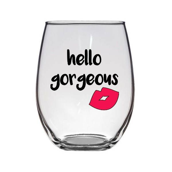 Excited to share the latest addition to my #etsy shop: hello gorgeous stemless wine glass / gift for her wine glass / lips wine glass / girlfriend wife wine glass / compliment wine glass http://etsy.me/2GKZKPg #housewares #clear #glass #wine #winelovers #giftforher