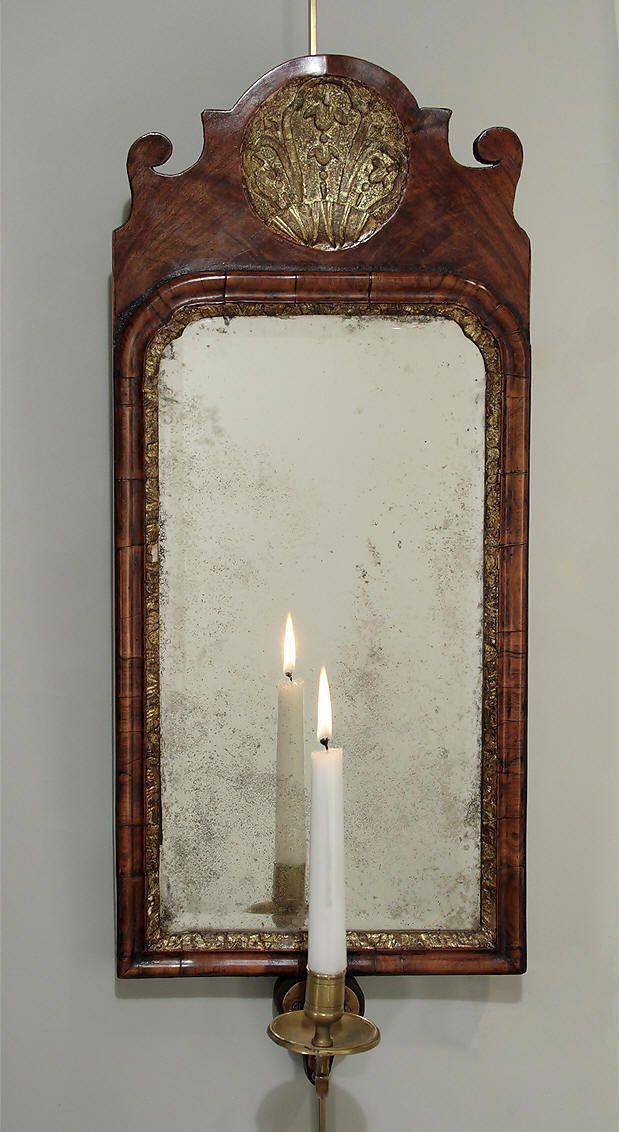 GEORGE I WALNUT & PARCEL GILT GIRANDOLE MIRROR, England, c1720; ; M. Ford Creech Antiques & Fine Arts, Memphis, TN
