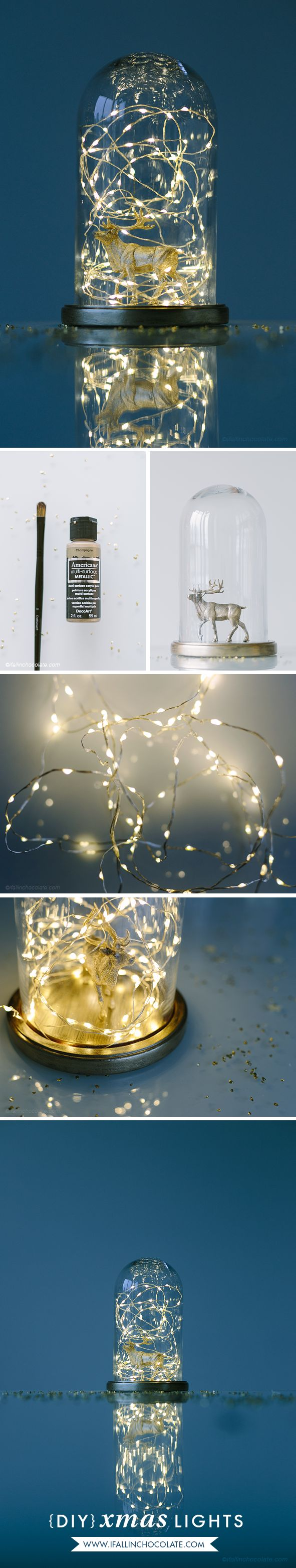 """DIY Xmas Lights (lamp) with a reindeer and a glass case. Home decor idea made by """"I FALL IN CHOCOLATE"""" Tutorial and more info on http://www.ifallinchocolate.com/2014/12/diy-xmas-lights.html Photos by Camilla Anchisi Photography (www.camillaanchisi.com)"""