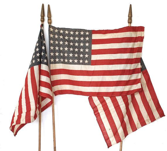 48 Star Flags  Vintage American Flags  by HappyFortuneVintage