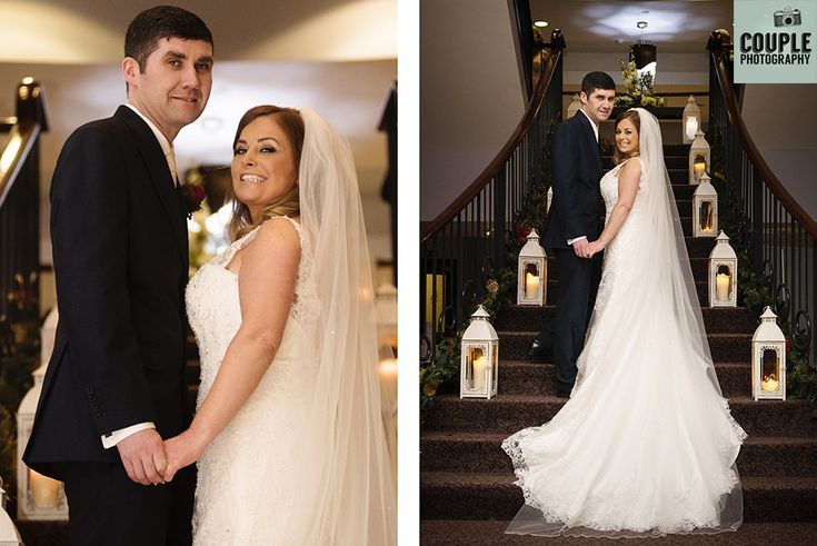 The newlyweds on the staircase at The Westgrove.  Weddings at The Westgrove Hotel by Couple Photography.
