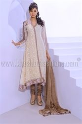 Picture of Beige and off White Churidar with Chiffon Kammez