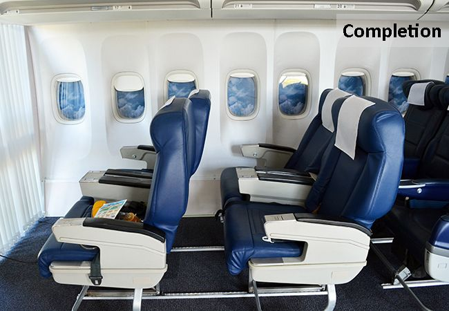 Installation of a Boeing 737 Air Cabin for Classroom Facilities  www.rapinteriors.com Photography by RAP Interiors