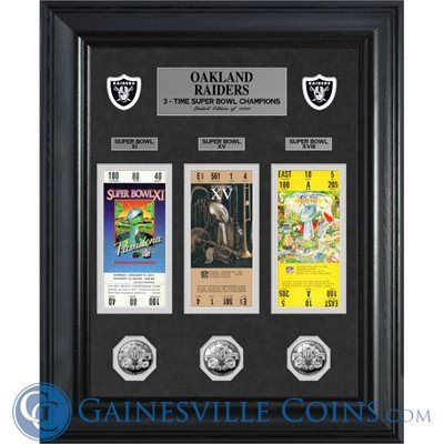 Oakland Raiders Super Bowl Ticket and Game Coin Collection Framed #OaklandRaiders  #Oakland    http://www.gainesvillecoins.com/submenu/536/sports-memorabilia.aspx