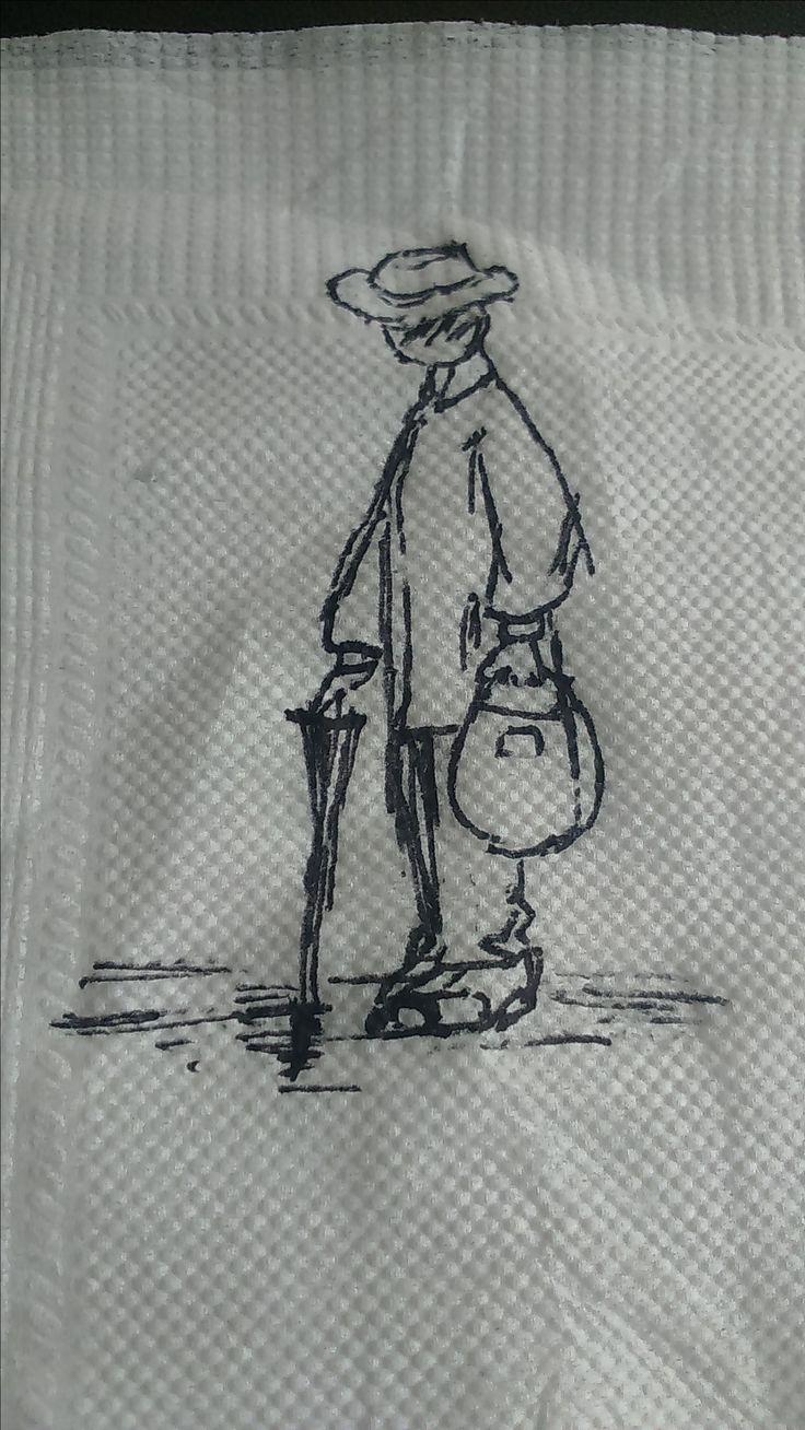 """Ilustración del personaje de mi minicuento """"Dejavu Otoñal"""""""