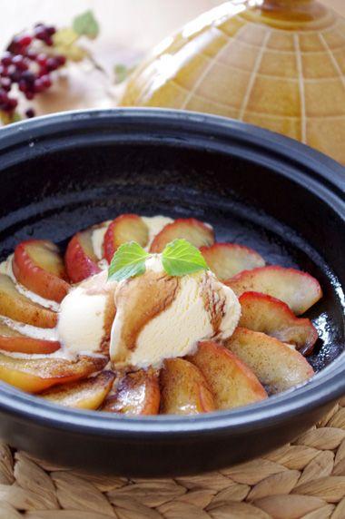 タジン鍋】林檎ソテーとアイスの簡単デザート☆ | 美肌レシピ