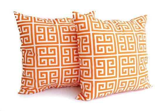 """Orange pillow covers set of two 22"""" x 22"""" Orange Greek Key pillow cover set by ThePillowPeople on Etsy https://www.etsy.com/listing/107181039/orange-pillow-covers-set-of-two-22-x-22"""