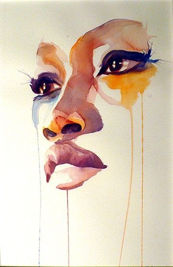 art, beautiful, draw, drawing, girl, lips, painting, sad, watercolor, drawspiration