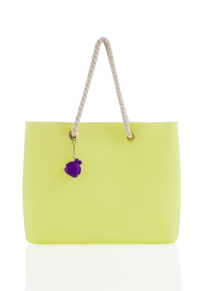 Brandani - Easy Bag Fashion giallo silicone con manici in corda