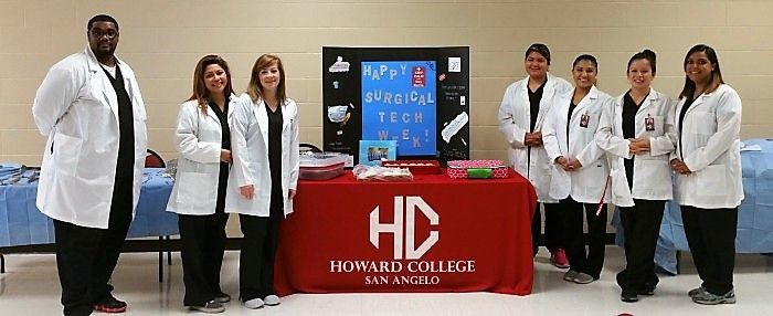 Howard College students camped out at our main campus in a high traffic area to hand out flyers and cupcakes to every student who walked by. They did demonstrations for an A&P class and two groups of high school health science students. The flyers included the job description of a surg tech (thank you AST) and a wonderful poem written by Michael W. Horne. This was an excellent opportunity to promote our profession and program and test the students' knowledge, thus far. #SurgTechWeek
