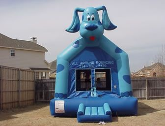 The Blue Dog bounce house rental is always a hit for the kiddos. They love watching the dog's head shake up and down with every bounce. All ages always enjoy this fun puppy!http://allaroundbouncing.com/bounce-house-rentals/blues-clues-dog.aspClues Blue the Dog Bounce House - Kids party rental - Plano, Allen, Frisco, McKinney