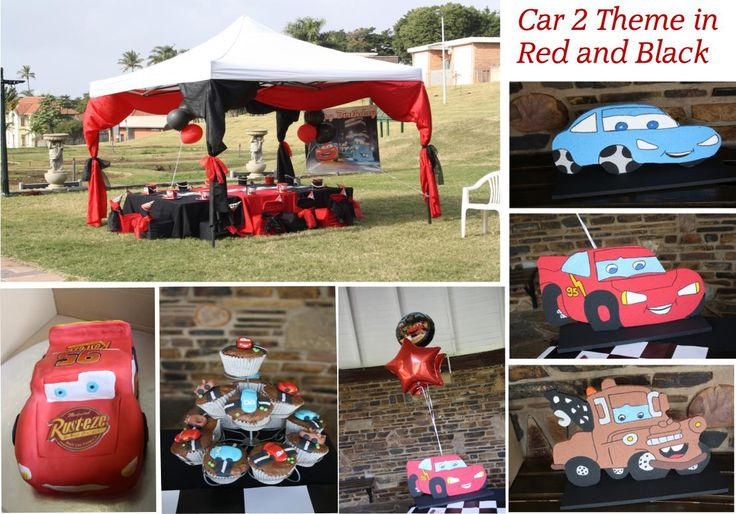 A Cars 2 Birthday party set up in the Black and Red colours as per the party mom's requirements  by Shindig Sisters at the Jameson Rose Gardens