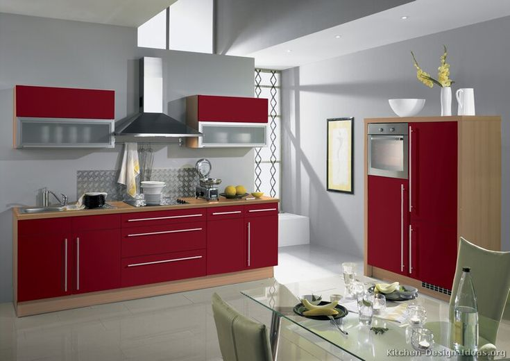 Bon Pictures Of Kitchens   Modern   Red Kitchen Cabinets (Page