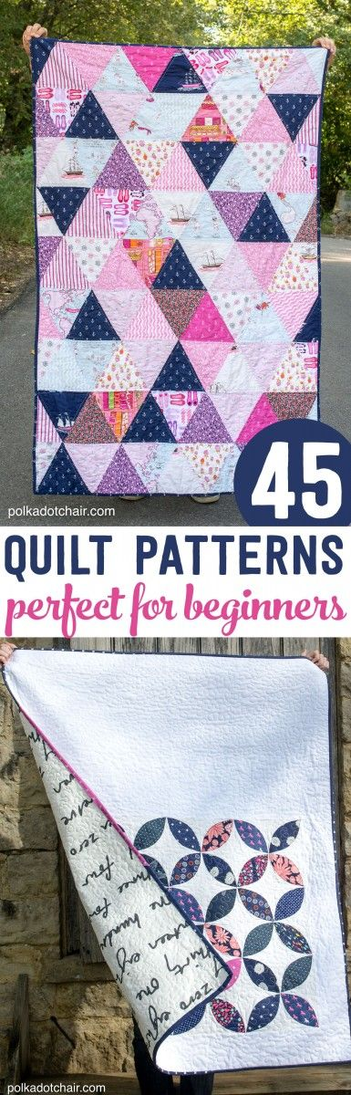 45 Quilt Patterns perfect for a beginning quilter-  Triangles=hexagons and therefore the coffee table