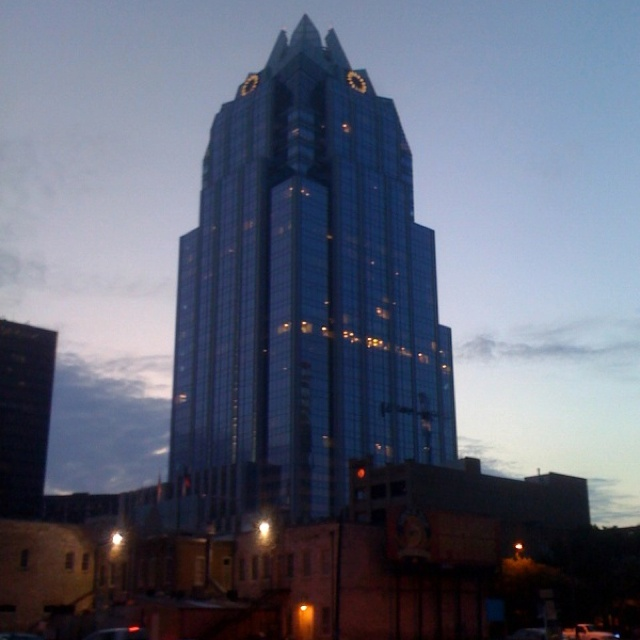 Frost Bank Building at dawn in Austin, TX