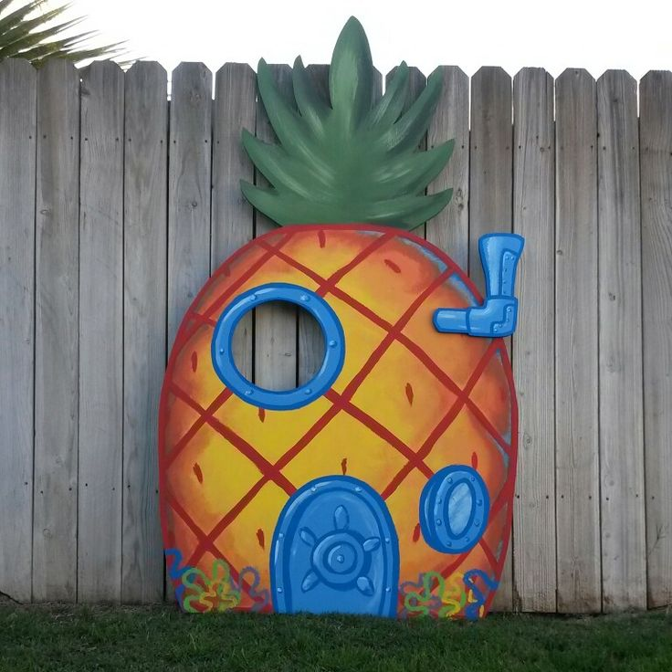 "Wood Cutout: SpongeBob SquarePants' Pineapple House Used for Birthday Photo Op. (approx 80"" tall)"
