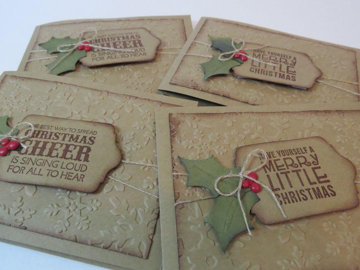 Carte de Noël, carte des fêtes, carte de Noël rustique «Feuille de gui»  Anglais Stampin' Up! de la boutique Lamainalacarte sur Etsy