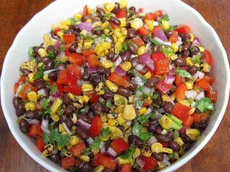 Black Bean & Corn Salad, can add and or take out stuff to suit personal taste. Great with chips as appetizer....