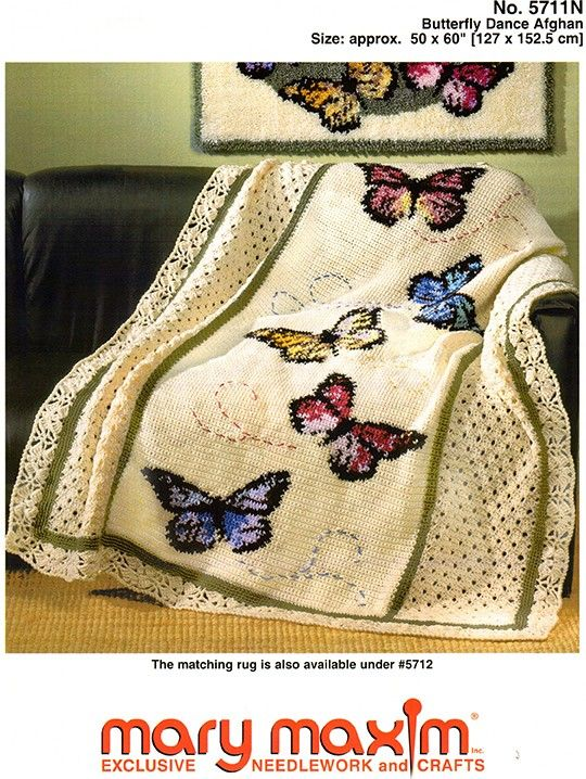 Fantastic Graph-ghan pattern. Crochet using our worsted weight yarn. Follow this easy graph to make this wonderful blanket. Butterfly afghan. Cross stitch the butterflies on to the made afghan.
