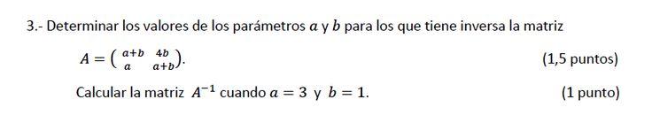 Ejercicio 3B Julio 2013-2014. Matemática, pau de Canarias, matemática 2, matrices y determinantes