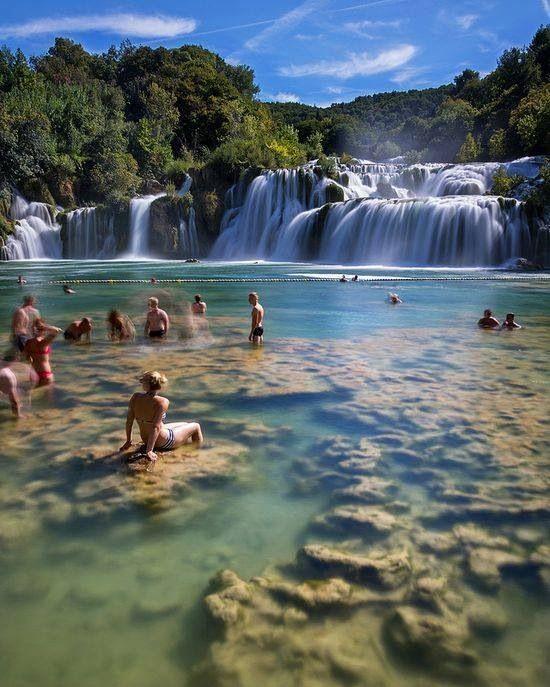 Krka Waterfalls - Croatia in central Dalmatia, in Šibenik-Knin county, downstream Miljevci area, and just a few kilometers northeast of the city of Šibenik.