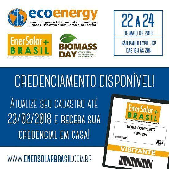 ATENÇÃO  Já está  disponível o credenciamento online para a 7ª edição da EnerSolar  Brasil. . . A EnerSolar  Brasil é referência para profissionais do setor de energias sustentáveis renováveis e limpas por apresentar inovações e as últimas tendências e soluções para o setor de Energia Solar Eólica Biomassa GTDC e afins. . .  Juntamente acontece o 8º Ecoenergy - Congresso de Tecnologias Limpas e Renováveis para a Geração de Energia e o 2º Biomass Day com o objetivo de debater sobre a…