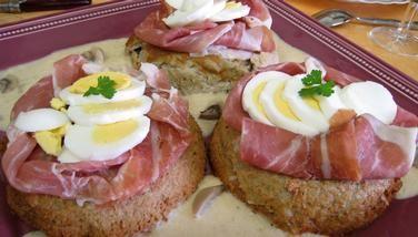 Recette Gâteau de Pâques aux champignons et au jambon de Parme