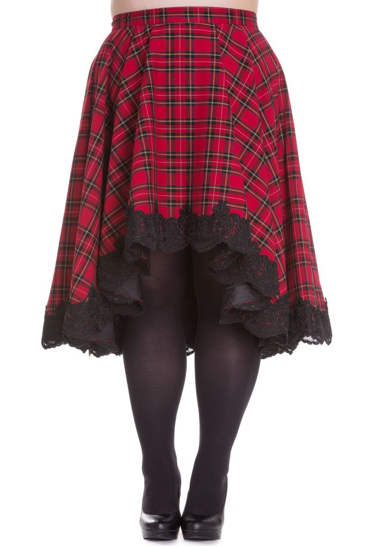 Hell Bunny Plus Victorian Rock Red Royal Stewart Tartan High-low Flare Circle Skirt