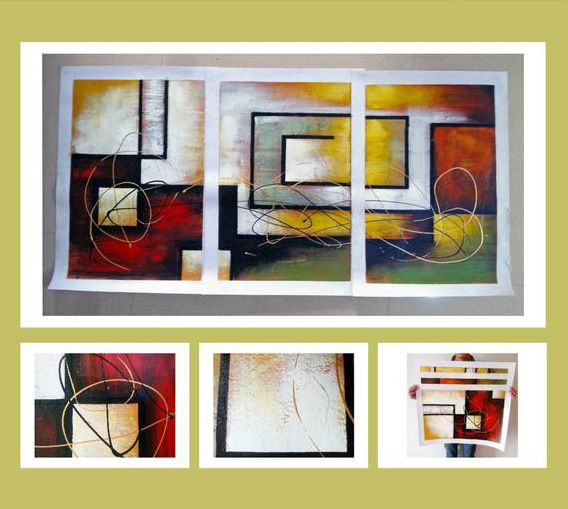 3 piece hand painted canvas oil paintings Modern abstract Home decorating pictures Living Room ready to hang wall art(no Frame