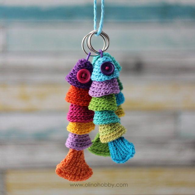 вязаные рыбки, брелок рыбка, вязаный брелок, рыбка крючком описание вязания / Fish keyring. Think it's not too difficult to crochet