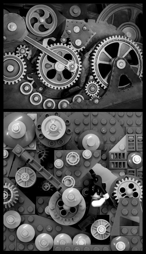 "Modern Times (1936) ""A cog in the Lego machine""  244 pieces; time to build: most of a Saturday  Modern Times is full of classic Chaplin moments: roller skating on the brink of a chasm, the automatic feeding maching, the gibberish song. But the most enduring image from the film is when Chaplin's factory worker falls into the machine and becomes ensnared by the massive gears and wheels.   When I started designing a 16x16 Lego vignette of this scene, I thought it would be quick 'n easy. But as…"