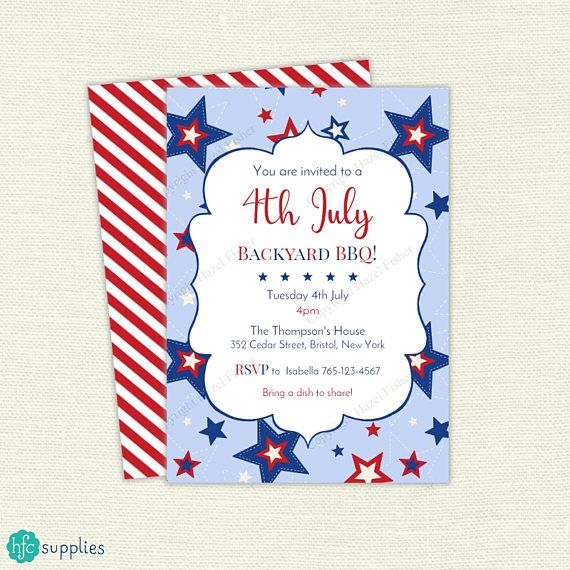 4th of July Stars and Stripes Invitation  Printable BBQ invite. Independence Day celebration. Partiotic Party. Birthday Party. Design by hfcSupplies Etsy.
