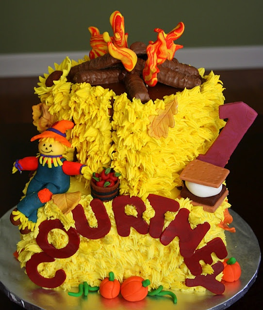 Best Of Fall Birthday Cake. Yes, those are Twix for campfire logs.