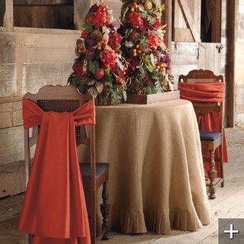 Autumn Decorating with Burlap | Natural Burlap Table Coverings | Festive Fall Decor