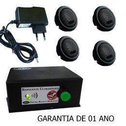 Repelente Ultrassônico contra Ratos e Morcegos, com 4 emissores (800m2)