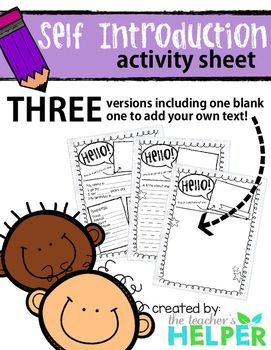 Self Introduction Activity Sheet                                                                                                                                                                                 More