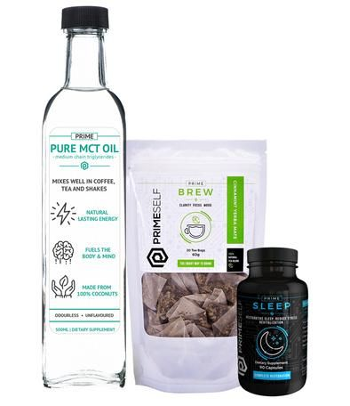 The Optimized Health Stack includes the following: 1x Prime Sleep (1 bottle, 90 capsules)  1x Prime MCT Oil (1 bottle, 500ml)  1x Prime Brew (1 bag, 20 tea bags)  The Optimized Health stack includes all necessary products needed to Optimize your Health, in one convenient stack. This stack focuses on supply the body with cutting-edge nutrients and ingredients to optimize both Sleep and Wellbeing, ensuring you are operating at your peak 24/7.  #PrimeSelf #Nootropics #Nootropic #Health…