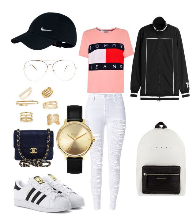 """Tommy"" by madisonkiss on Polyvore featuring Chanel, WithChic, Tommy Hilfiger, adidas Originals, Alexander McQueen, Puma, NIKE, Bony Levy, Maison Margiela and Yves Saint Laurent"