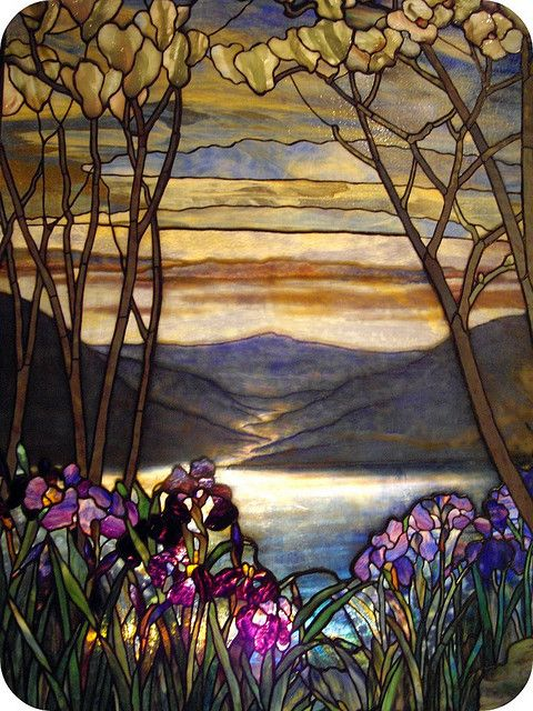 Magnolias and Irises.Louis Comfort Tiffany.