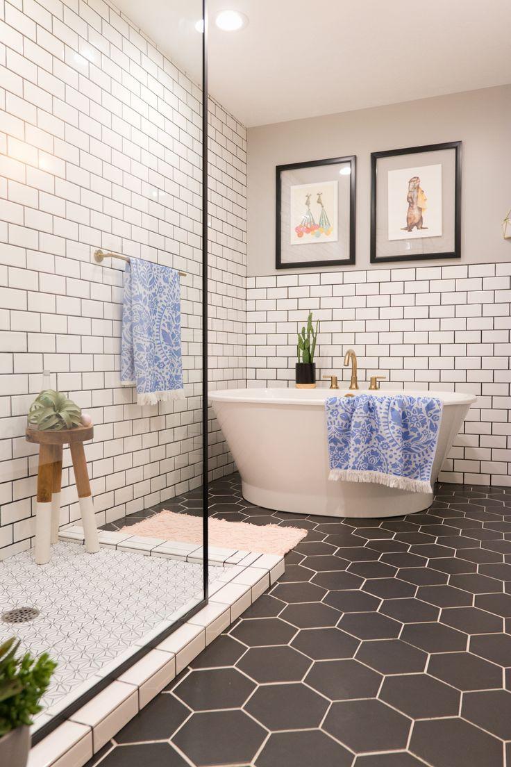 Midcentury Bathroom Black Hexagon Tile Subway Tile Bath White Bathroom Tiles Bathroom Tile Renovation Bathroom Tile Designs
