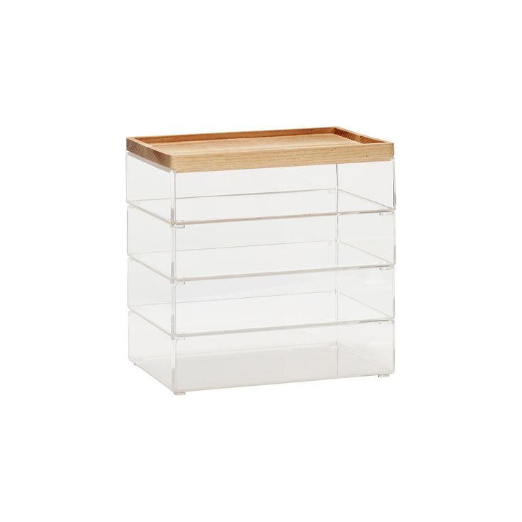 Transparent acrylic boxes with wooden lid, in a set of 4. Item number: 120404 - Designed by Hübsch