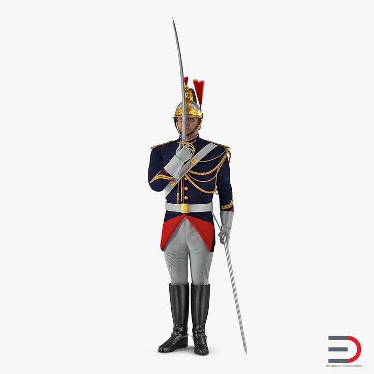 French Republican Guard in Traditional Uniform Rigged 3D model