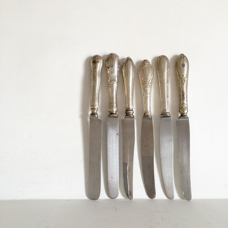 French Antique Silver Knives - Mixed Set French Knives - Eclectic Collection of Knives - Ornate Silver Knives - Mix and Match Knife Set by LaVieEnPastis on Etsy