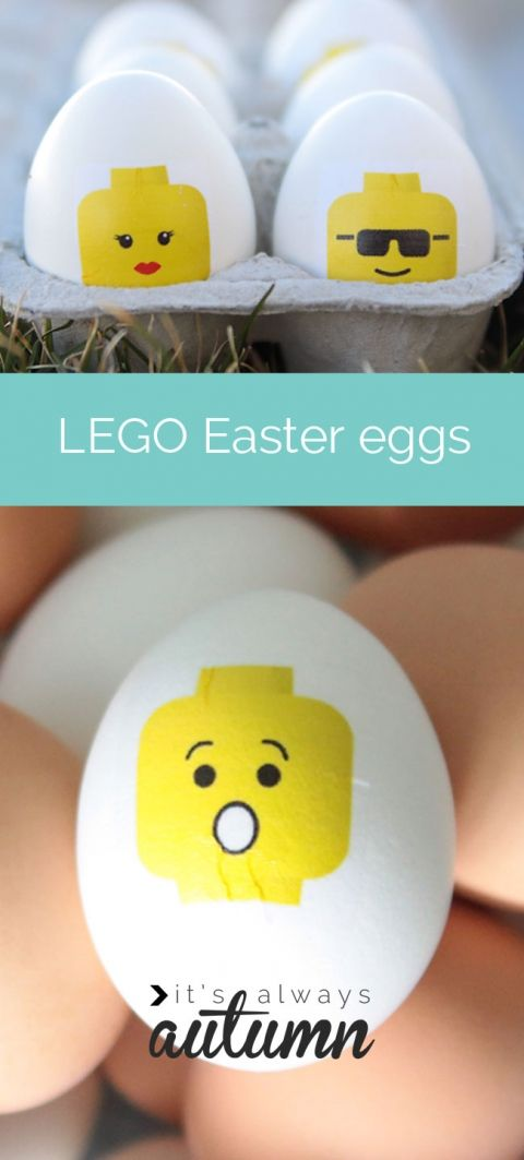 LEGO Easter eggs! looking for a unique and easy alternative to dying eggs? Try this fun, easy technique for making #LEGO mini fig #Easter #eggs. kids craft.