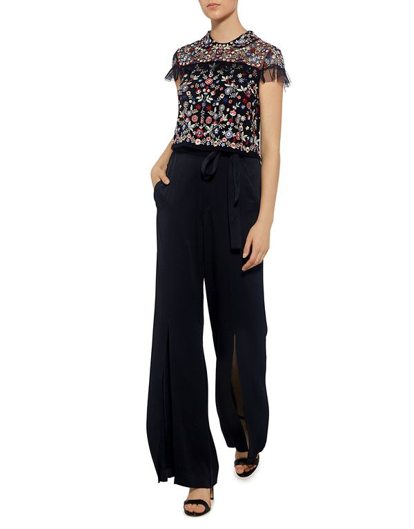 Needle & Thread: Posy Floral Embroidered Ruffle Cropped Top (item view - 2)